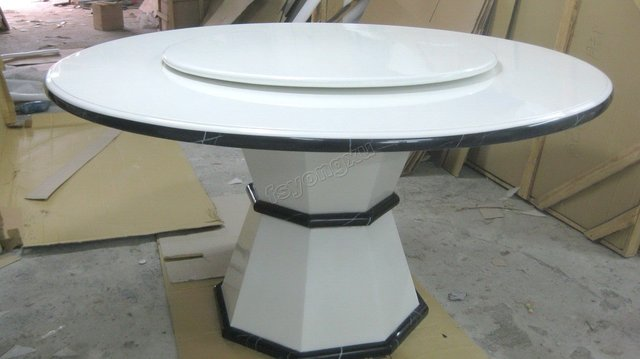 Crystal White Marble Dining Table With Turnplate, Pure White Round Table Top,  Octangle Marble