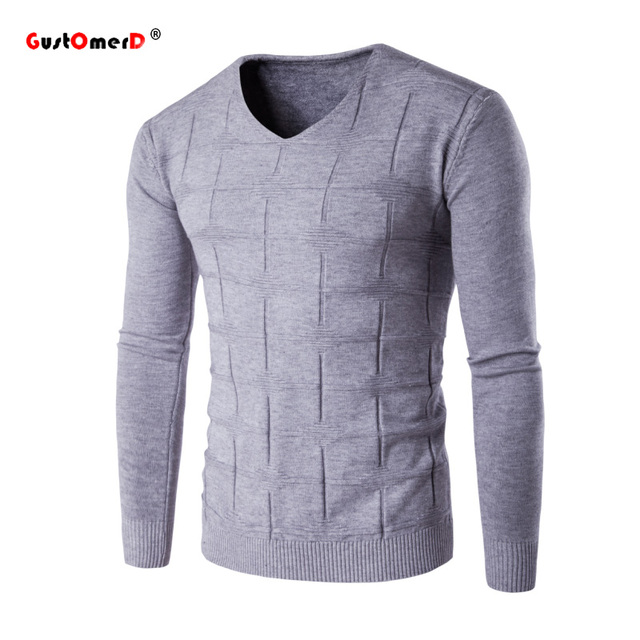 GustOmerD 2016 New Brand Warm Winter High Quality Plaid Sweater Men V-Neck Knitted Pullover Men Solid Color Sweater Male