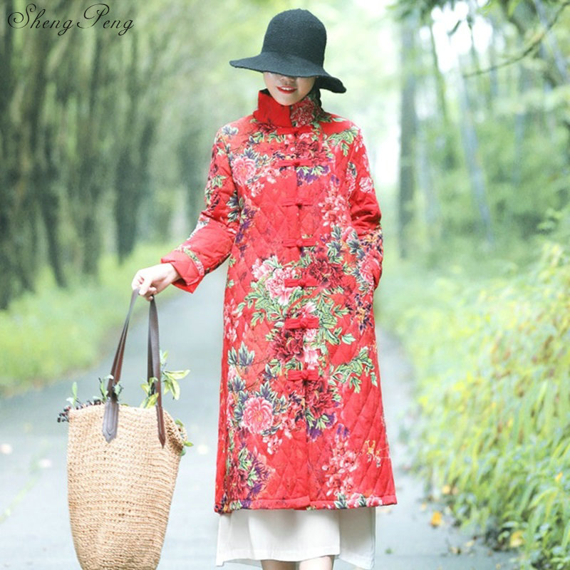 Chinese Style Stand Collar Winter Coat Woman 2018 Fashion Flower Printed Cotton Loose Coat Female National Style Big Size V1070