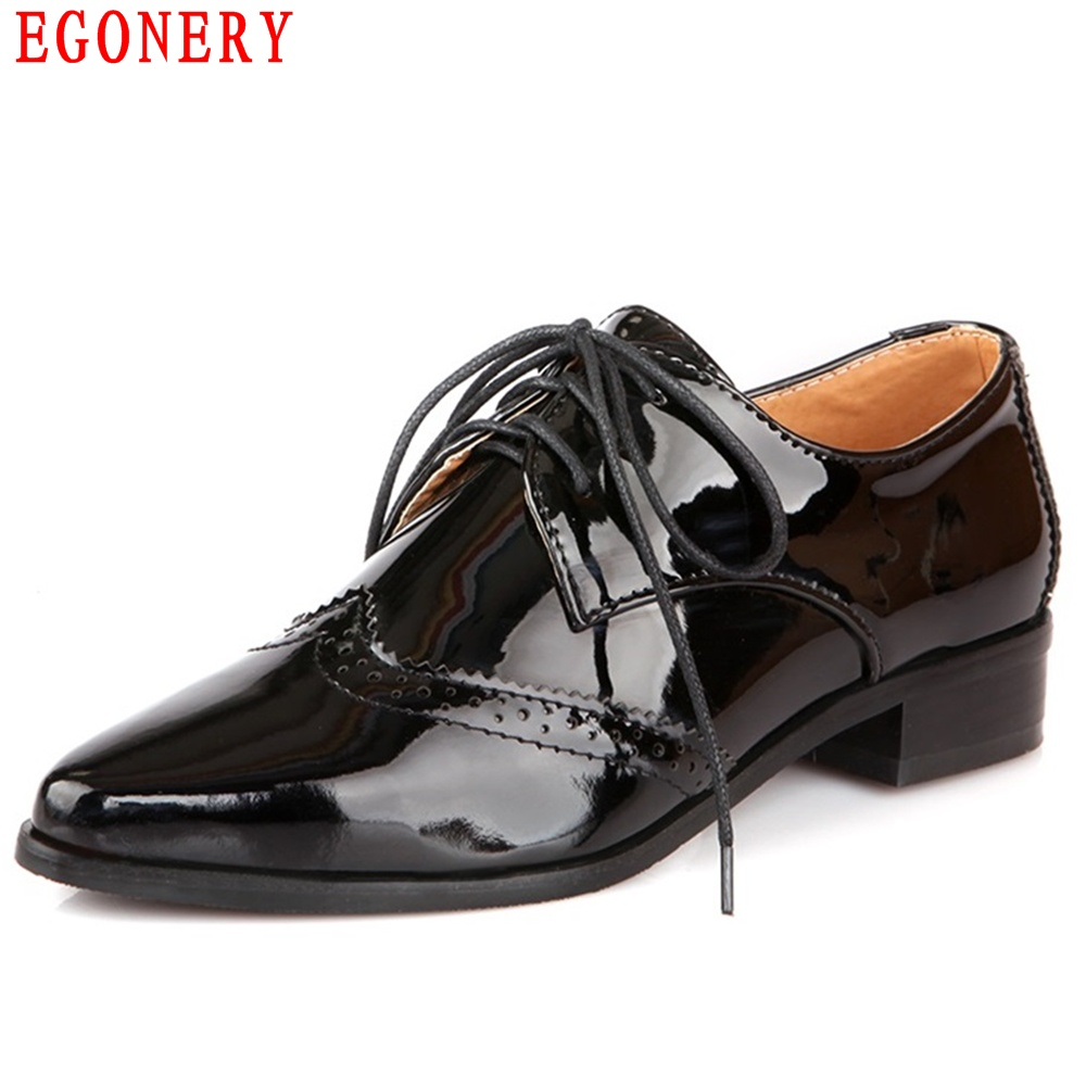 EGONERY Neutral Style Casual Low Heels Pointed Toe Lace Up Patent Leather Women Shoes Ankle Cut