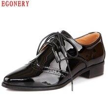 EGONERY нейтральный Стиль Повседневная низкий каблук заостренный носок на шнуровке лакированная кожа женская обувь лодыжки Вырез оксфорды плюс Размеры