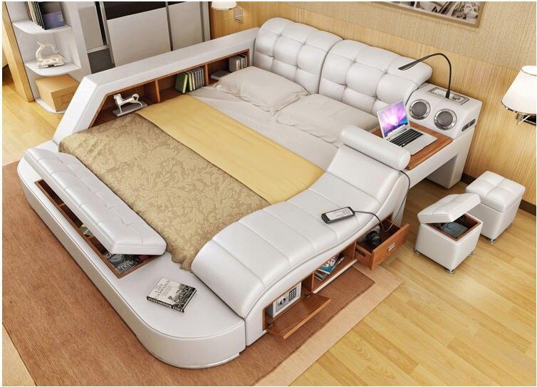 Genuine leather <font><b>bed</b></font> frame with massage and safe Modern Soft <font><b>Beds</b></font> Home Bedroom Furniture cama muebles de dormitorio camas quarto