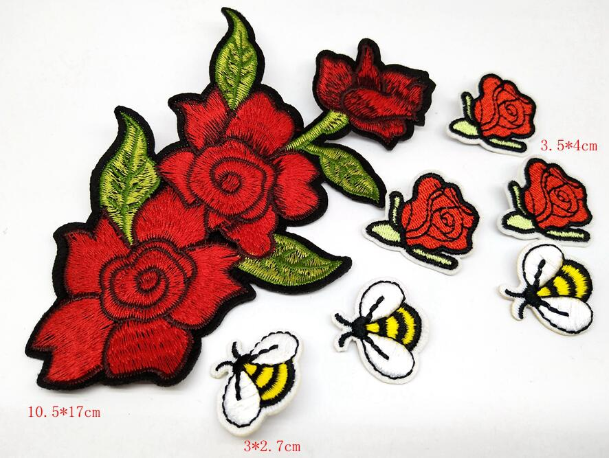 Set of 3 Red Flower Bird Embroidered Lace Applique Sew On Clothes Patch Applique