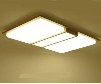 Modern led tavan ışıkları Dikdörtgen yatak odası Oturma odası günlük ahşap lamba Japon Tatami led katı ahşap lambalar tavan lambaları ZA
