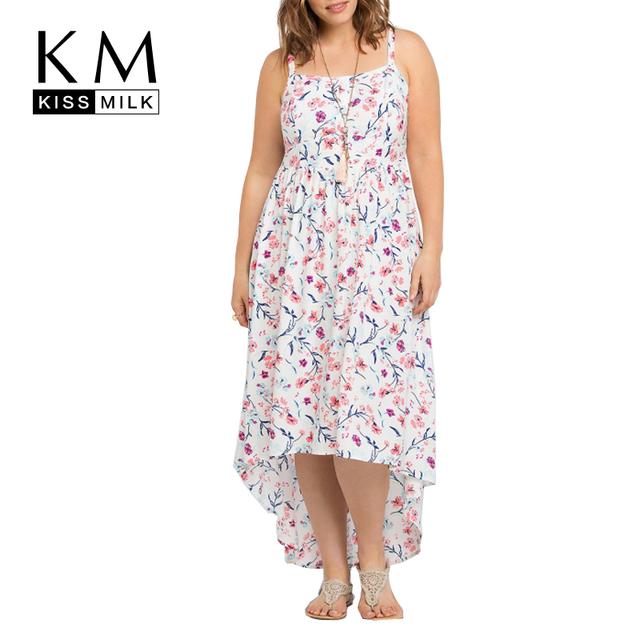 Kissmilk Boho Del Estilo Más El Tamaño Elegante Vestido de Gran Tamaño de Gran Tamaño Correa de espagueti Del Vestido 3XL 4XL 5XL 6X Casual Vestido Alto-Bajo