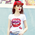 Fashion red lips short-sleeve t-shirt paillette print top short design sexy slim white