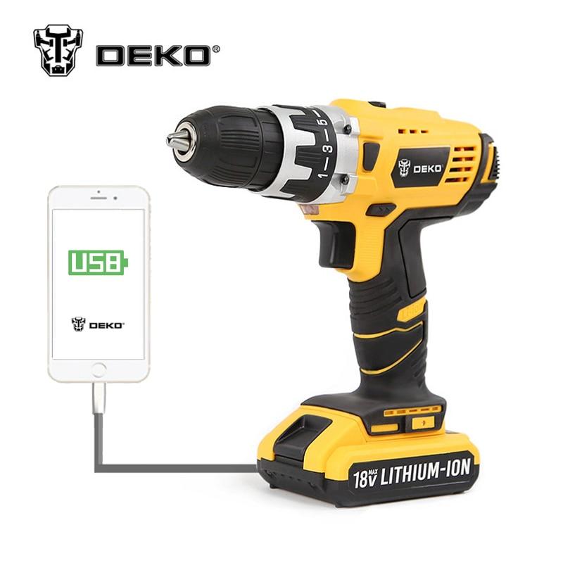 DEKO GCD18DU2 18V DC New Design Mobile Power Supply Lithium Ion Battery Cordless Drill Driver Power