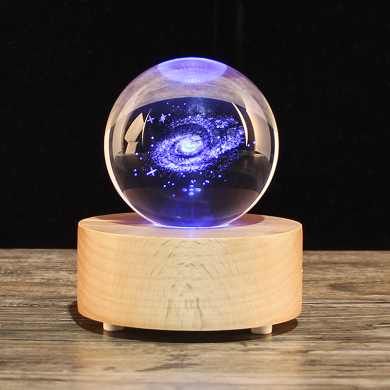 Best Christmas Present Laser Engraved 3D Galaxy Crystal Ball Quartz Glass Home Accessories Astronomy Miniatures Gifts in Decorative Balls from Home Garden