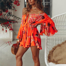 47161024bbc Lily Rosie Girl Off Shoulder Yellow Sexy Playsuits Women Big Flare Sleeve  red Jumpsuits Summer Beach