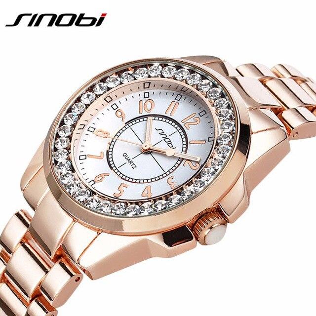 Luxury Brand Sinobi Watches Women 2018 Women Watches Rose Gold Rhinestone Quartz