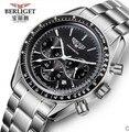 Multifunction Automatic mechanical watch 50M water  BERLIGET wristwatches men relogio automatic watch