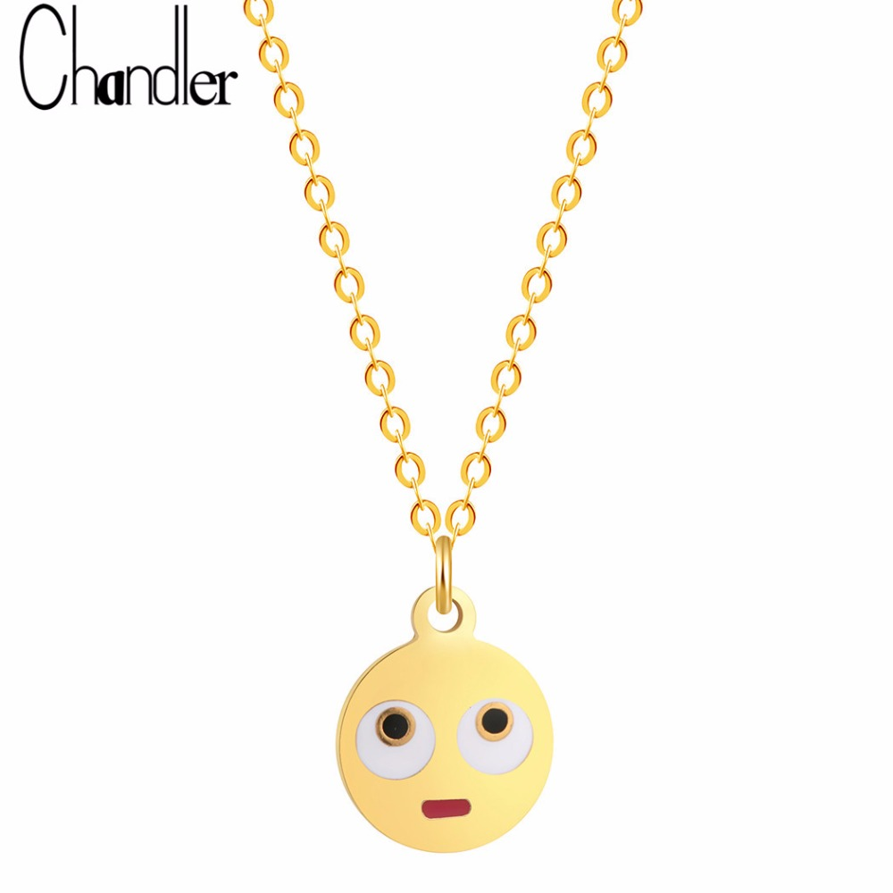 Chandler Korean Cute Stunned Expression Face Cartoon Emoji Pendant Necklaces For Women Tiny Round 316L Steel Charm Chain Colier
