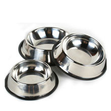 Pets Dog Cat Puppy Anti Skid Stainless Steel Bowl Travel Feeding Food Water Dish