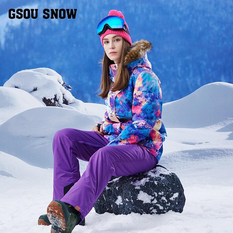 2017 nouveau costume de ski d'hiver femmes col de cheveux coupe-vent chaud pantalons de ski femmes épaissie sangles