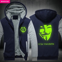 BOOCRE Winter V For Vendetta Mask Rangers Men Hooded Sweatshirts Thicken Zipper Hoodies Outerwear Jackets USA EU Size Plus Siz
