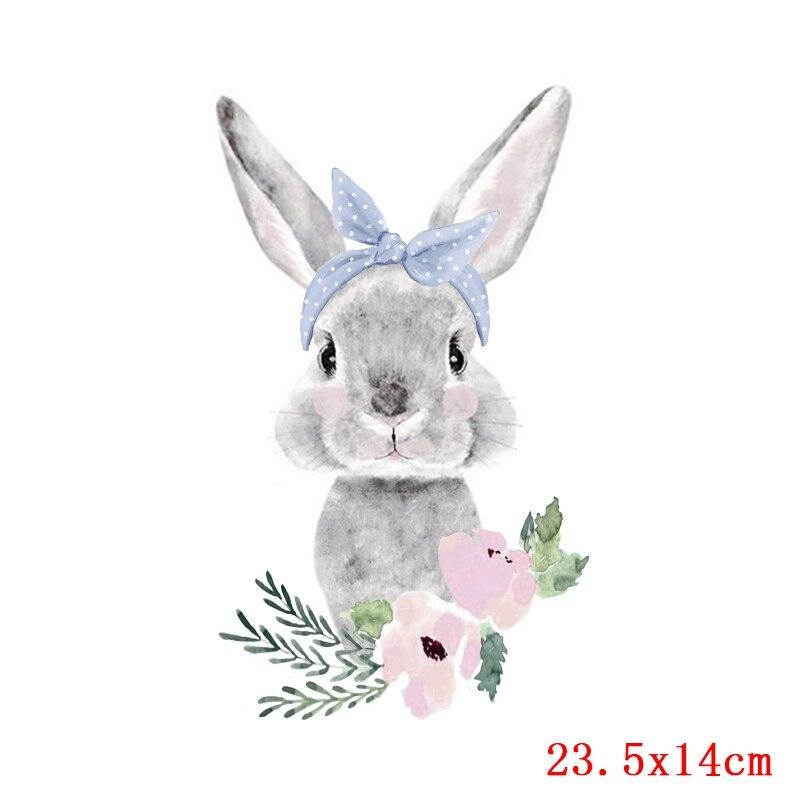 Prajna милый кролик патч теплопередача Винил утюг на передачу для одежды мультфильм значок глажка наклейки аппликация уровень - Цвет: Сиренево-синего цвета