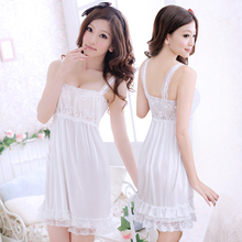 Summer Women Sexy Cute Casual Halter Nightdress Micro White Princess Lace Seduction Underwear