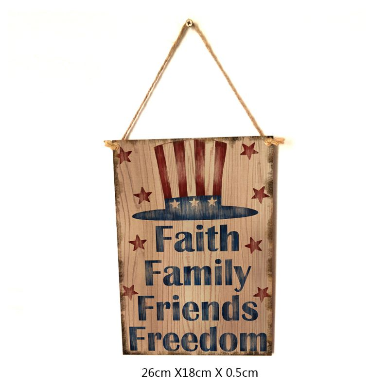 Image 5 - Vintage Wooden Hanging Plaque Faith Family Friends Freedom Sign Board Wall Door Home Decor Independence Day Party Gift-in Plaques & Signs from Home & Garden