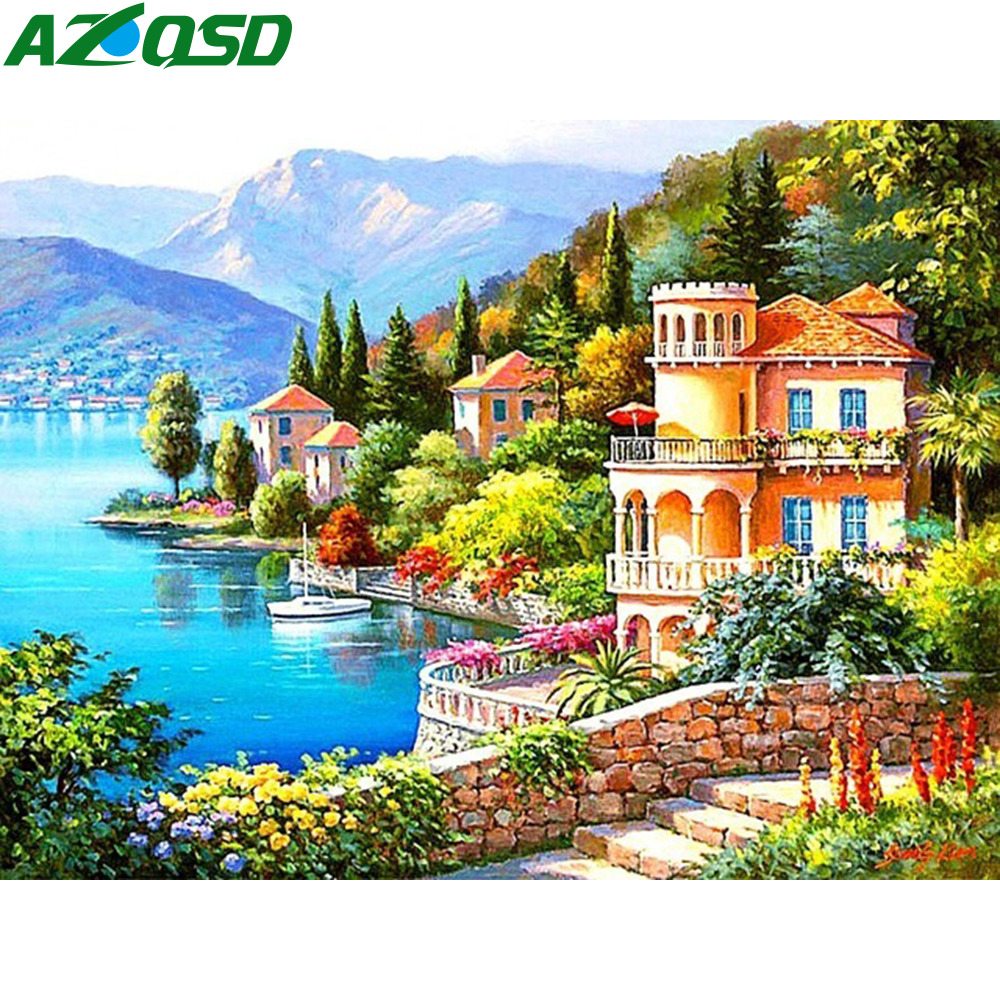 AZQSD 5D Diamond Mosaic Seaside Landscape Cross Stitch Full Square Embroidery City Home Decor Painting Scenery