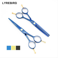 Tesouras do cabelo de 5.5 POLEGADA da mão Esquerda e da mão Direita tesoura Japão Preto Azul Golden Rainbow Terno opcional Lyrebird NOVO