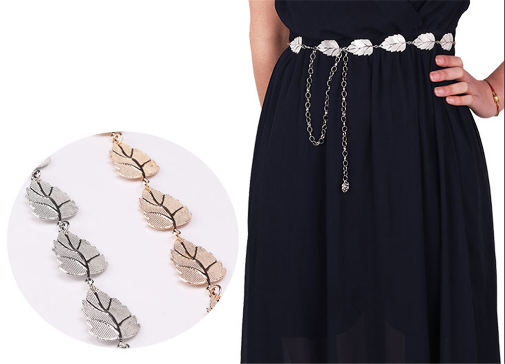 1 Stücke Frauen Elegante Mode Metall Blätter Stil Gürtel Kette Straps Taille Gürtel Körper Kette Seil Gold Silber Hohe Belastbarkeit