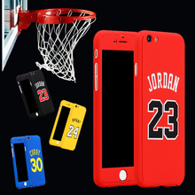Top Basketball Superstar Jordan Curry 360 degree Full Body Case Cover For iPhone 6 6s plus 7 7plus coque Hard Case+Temperd Glass