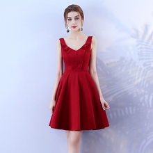 Wine Red Mini Dress Bridemaid Dress Women Wedding Party Dress  Back of Zipper v neck red bean pink colour above knee mini dress satin dress women wedding party bridesmaid dress back of bandage