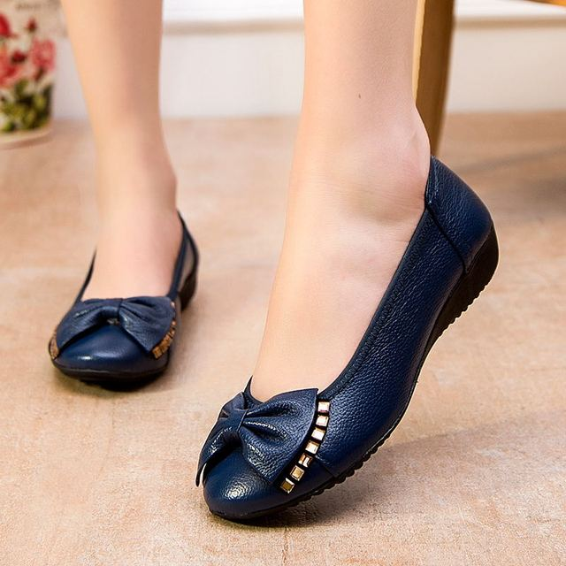 MUYANG Plus Size(34-43) 2017 Spring And Autumn Women Flats Genuine Leather Flat Shoes Woman Casual Single Shoes Women Shoes