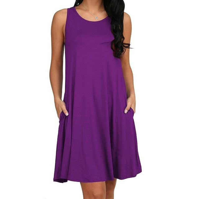 Women Casual Summer Dress Plus Size O-neck Tank Top Loose Clothing Side Pocket Fashion Sexy Ladies Solid Sleeveless Dresses 5XL 4