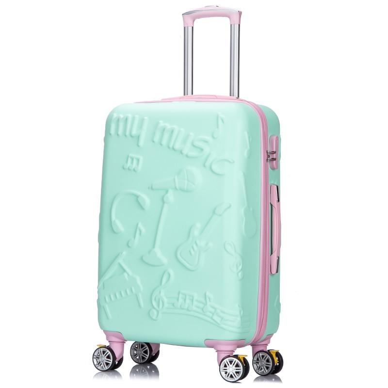 """Begeistert Frauen Roll Gepäck Cartoon Trolley Koffer Weibliche Nette Passwort Box 20 """"24"""" Zoll Internat Reise Mode Harte Box Ohne RüCkgabe"""