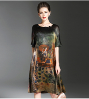 Vintage Ethnic Painting Design Dress Women Summer Half Sleeve Soft Silk Dresses Elegant Woman Brand Vestidos