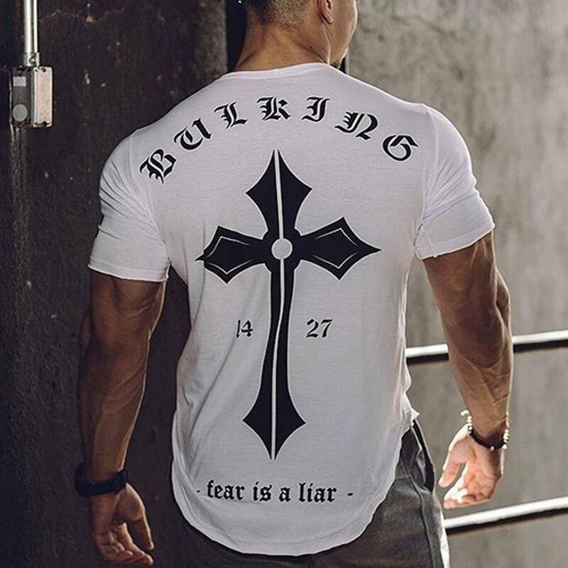 T-Shirt Gym Apparel Fitness Workout Training Bodybuilding Jogging Sports Short-Sleeve