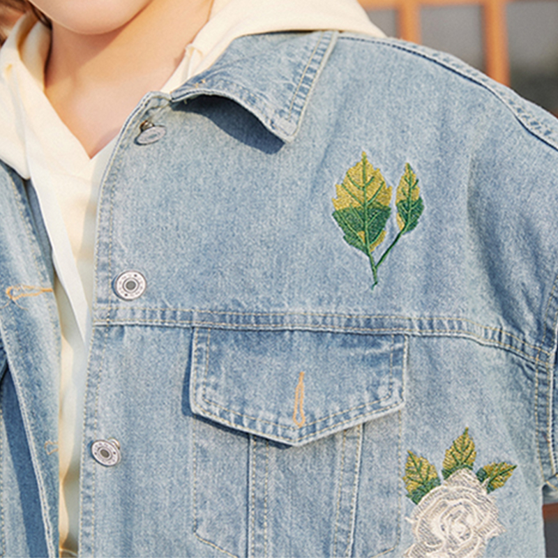 Occasionnel Broderie Veste Femmes Tournent Lâche Nouveau Blue Automne Denim Jq103 Manteau Le Mode Outwear De Femelle Printemps Fleurs Bas Vers Dames xwa8qZOtO