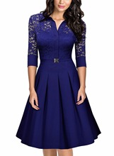 2017 European Fashion Women Lace Party Dress Elegant Dress Suit V-neck Casual Half Sleeve Work Dress Ladies Pleated Party Dreses