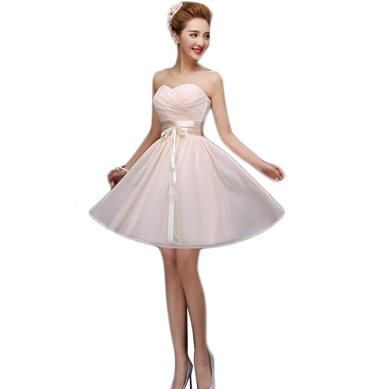 Vestido De Festa De Casamento 2016 Champagne   Bridesmaid     Dresses   Strapless Chiffon Wedding Party Short   Dress   Sister   Dresses   BV24