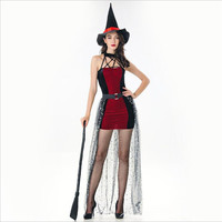 Europe and America Style Witch Halloween Vampire Cosplay Costume Adult Girls Masquerade Performance Free Shipping