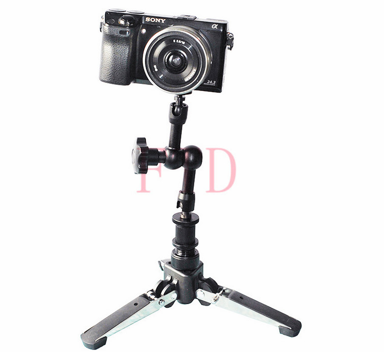 New 3In1 Universal Three feet 3 Legs Monopod Base Stand Unipod Holder Support+Hotshoe adapter+7'' inch Magic Arm For DSLR Camera