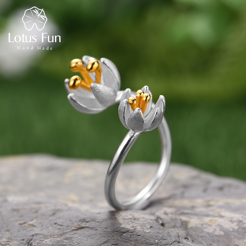 Lotus Fun Real 925 Sterling Silver Natural Handmade Designer Fine Jewelry Adjustable Fresh Blooming Flower Rings For Women