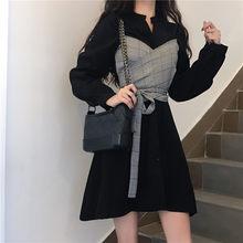 Vestido da marca de moda primavera Mulheres estilo outono fêmea doce Vestidos Falso duas peças vestidos roupas femininas bow preto novo
