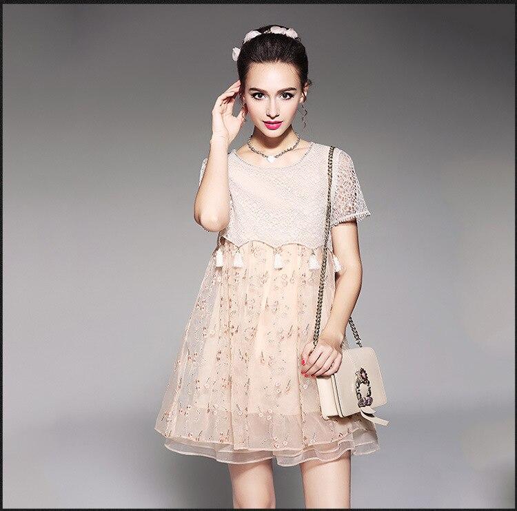 New2017 été mode dames Juniors mignon flare robe dentelle broderie ébouriffée robe décontracté vestidos grande taille XXXL 4XL 5XL 5566