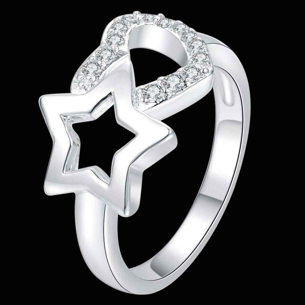 Silver Rings For Women 925 Elegant Crystal Men Ring Fashion Wedding Costume  Jewelry Rings Stars And