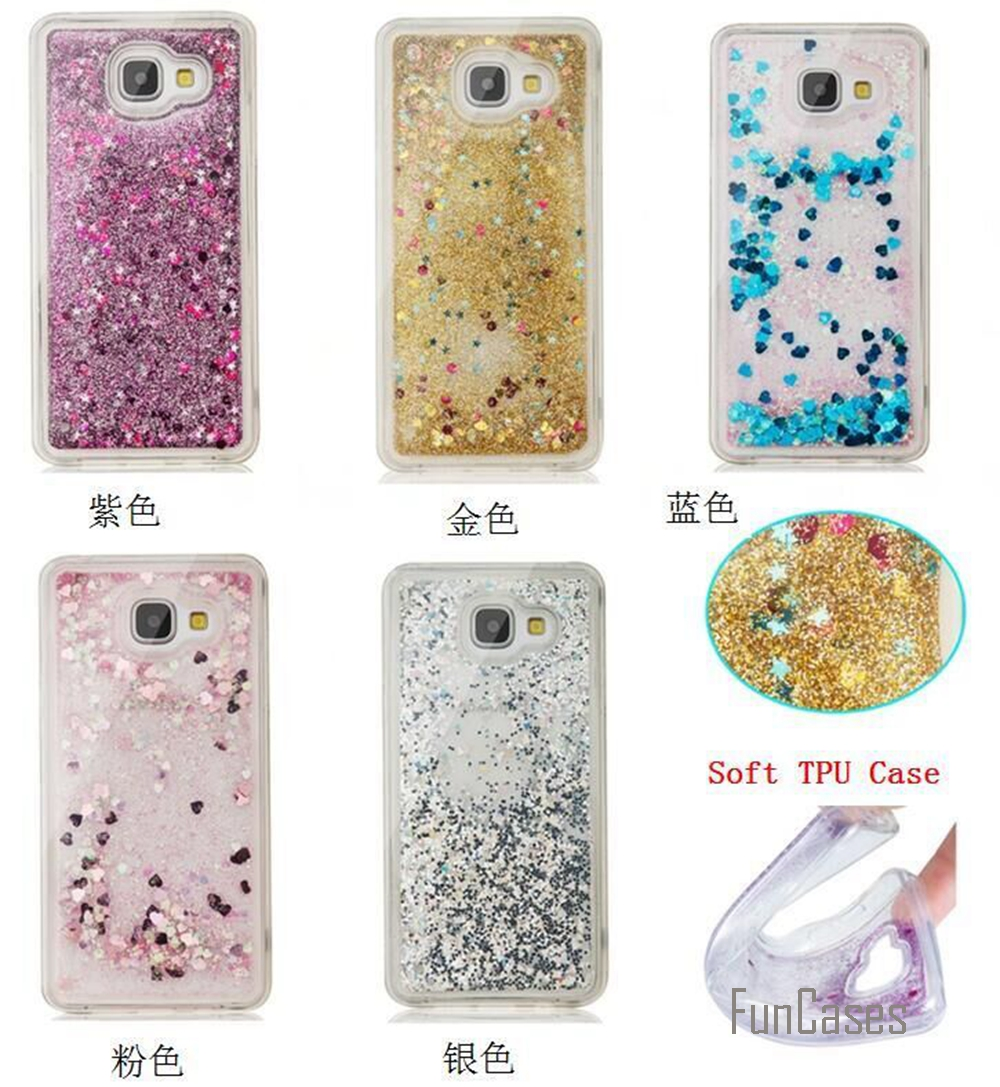 Coque Bling Love Heart Stars Soft TPU Quicksand Phone Case Cover For Samsung Galaxy S5 S6 S7 Edge J3 J5 2016 A310 A510 G360 G530