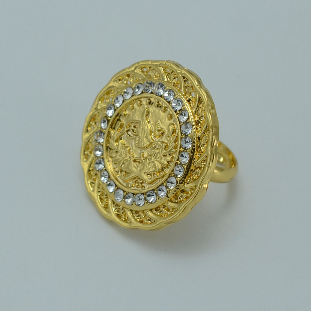 Turks Coin Ring For Women Gold Color Turkey Coins Bride Wedding