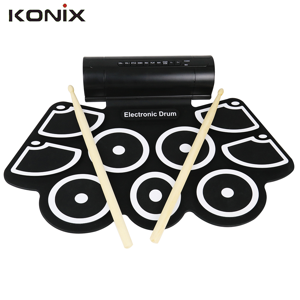 KONIX Electronic 9 Silicon Pad Roll Up Drum Support MIDI with Drumsticks Foot Pedals USB 3.5mm Audio Cable 9 pad silicon roll up electronic drum with drum sticks and usb cable for midi game percussion instrumenst drum lover