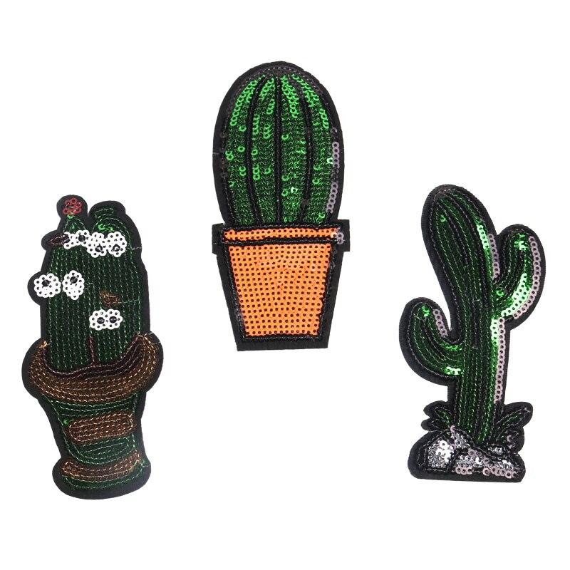 ᓂAlta calidad y preciosa lentejuelas apliques ropa cactus parche ...