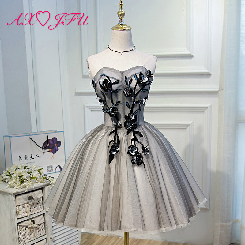 AXJFU Noble elegant evening dress sexy bra birthday short new Party Princess sweet evening dress black flower evening dress
