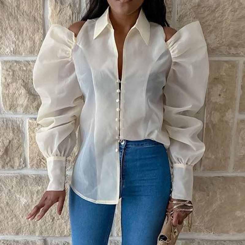 Сексуальная Блузка для женщин, топы, модные, с отворотом, прозрачные, Клубные, с длинным рукавом, офисные, большие, белые рубашки 2019, Осенние, элегантные женские блузки