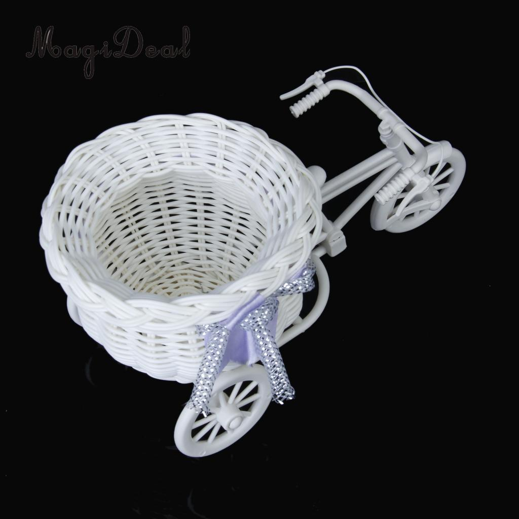 MagiDeal Handmade Rattan Flower Tricycle Bike Flower Basket Storage For Flower Plant Home Weddding Decoration