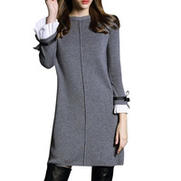 Women Elegant Winter Knitted Sweaters Dress A Line Fashion Casual Pullovers Party Dress Butterfly Sleeve Black