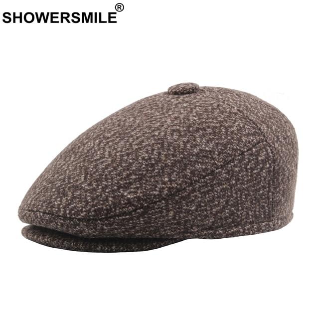 8018b637e5a09 SHOWERSMILE Winter Flat Caps For Men Earflaps Khaki Berets Male Cotton  Vintage Driving Cap Casual Classic Warm Ivy Directors Hat